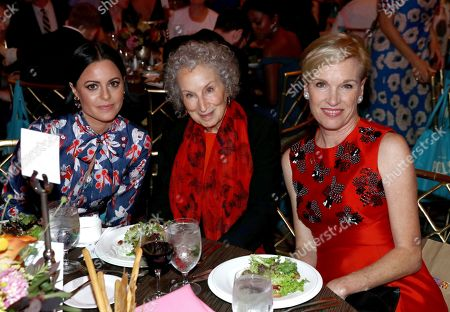 Sophia Amoruso, Margaret Atwood, Cecile Richards. Sophia Amoruso, from left, Margaret Atwood and Cecile Richards at the 27th Annual PEN Center USA Literary Awards Festival at the Beverly Wilshire Hotel, in Beverly Hills, Calif