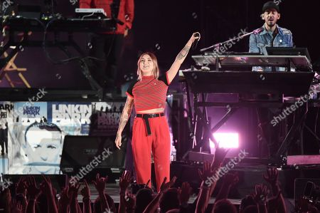 Julia Michaels performs with Linking Park during Linkin Park and Friends Celebrate Life in Honor of Chester Bennington at the Hollywood Bowl, in Los Angeles