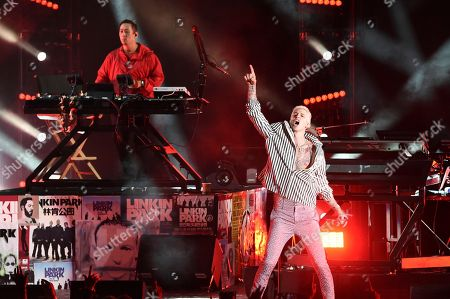 Machine Gun Kelly performs during Linkin Park and Friends Celebrate Life in Honor of Chester Bennington at the Hollywood Bowl, in Los Angeles