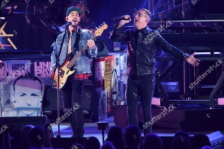 Mike Shinoda, Ryan Key. Ryan Key, right, performs with Linkin Park during Linkin Park and Friends Celebrate Life in Honor of Chester Bennington at the Hollywood Bowl, in Los Angeles