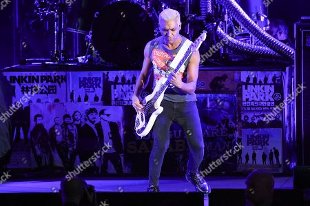 Tony Kanal performs with Linkin Park during Linkin Park and Friends Celebrate Life in Honor of Chester Bennington at the Hollywood Bowl, in Los Angeles
