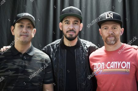 Joe Hahn, Mike Shinoda, Dave Farrell. Joe Hahn, from left, Mike Shinoda and Dave Farrell pose backstage after Linkin Park and Friends Celebrate Life in Honor of Chester Bennington at the Hollywood Bowl, in Los Angeles