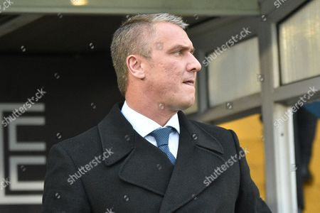 Stock Image of Bury Manager, Lee Clark  during the EFL Sky Bet League 1 match between Bury and Doncaster Rovers at the JD Stadium, Bury