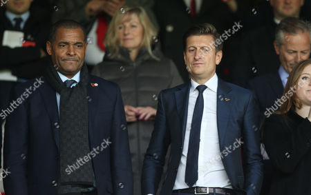 Crystal Palace Chairman, Steve Parish and former Crystal Palace player Mark Bright watches Crystal Palace v West Ham United from the stands at Selhurst Park Stadium during the Premier League match between Crystal Palace and West Ham United 28th October 2017 at Selhurst Park Stadium, Croydon, London.