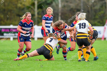 /br19\is tackled by Amy Cokayne of Wasps Ladies