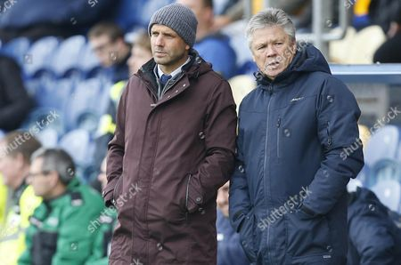 Exeter City manager Paul Tisdale with Steve Perryman during the Skybet League Two Match between Mansfield Town and Exeter City at One Call Stadium, Mansfield on Oct 28