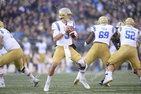 Stock Photo of UCLA quarterback Josh Rosen (3) sets up to pass during a PAC12 football game between the UCLA Bruins and the Washington Huskies. The game was played at Husky Stadium on the University of Washington campus in Seattle, WA. Jeff Halstead / CSM