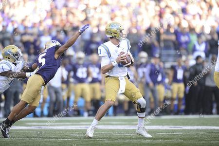 UCLA quarterback Josh Rosen (3) gets pressure from UW defender Myles Bryant (5) during a PAC12 football game between the UCLA Bruins and the Washington Huskies. The game was played at Husky Stadium on the University of Washington campus in Seattle, WA. Jeff Halstead / CSM