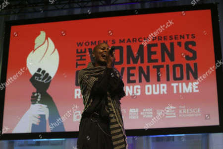 V. Bozeman performs during The Women's Convention at Cobo Center