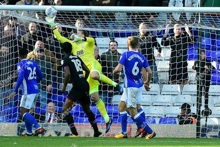 Birmingham City goalkeeper Tomasz Kuszczak (29) makes an important save during the EFL Sky Bet Championship match between Birmingham City and Aston Villa at St Andrews, Birmingham