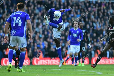 Birmingham City midfielder Cheikh N'Doye (17) shoots at goal during the EFL Sky Bet Championship match between Birmingham City and Aston Villa at St Andrews, Birmingham