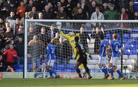 Goalkeeper Tomasz Kuszczak makes a good save during the Sky Bet Championship match at St Andrews, Birmingham