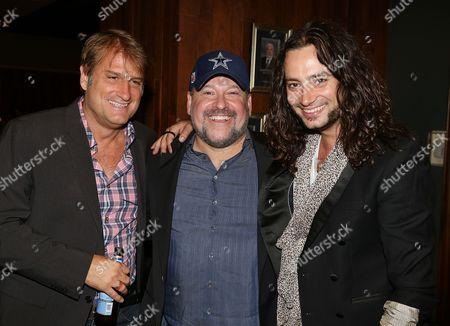 """From left, Director/Choreographer Jeff Calhoun, Composer Frank Wildhorn and cast member Constantine Maroulis pose during the party for the opening night performance of """"Jekyll & Hyde"""" The Musical at the La Mirada Theatre for the Performing Arts, in La Mirada, Calif"""