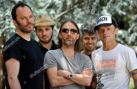 Left to right, Nigel Godrich, Joey Waronker, Thom Yorke, Mauro Refosco and Flea of the band Atoms For Peace pose for a portrait on in Los Angeles