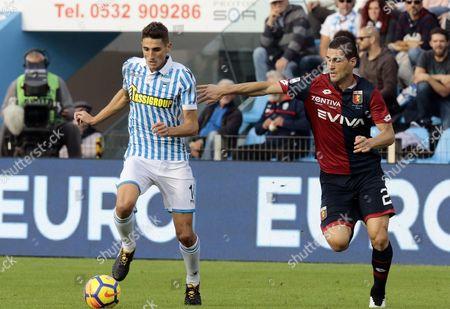 Spal's Federico Mattiello (L) and Genoa's Aleandro Rosi in action during the Italian Serie A soccer match S.P.A.L. 2013 vs Genoa CFC at Paolo Mazza stadium in Ferrara, Italy, 29 October 2017.