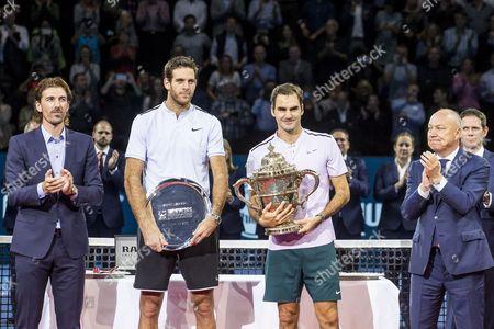 Roger Federer, Juan Martin del Potro, Fabian Cancellara and Roger Brennwald
