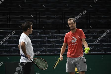 Richard Gasquet and his coach Fabrice Santoro during a trainnig session at the Accord Hotel Arena on sunday 29, 2017.