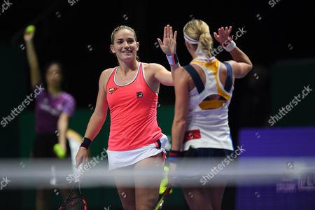 (L-R) Timea Babos (HUN), Andrea Hlavackova (CZE), OCT 28, 2017 - Tennis :BNP Paribas WTA Finals Singapore 2017 match between Yung-Jan Chan (TWN)/Martina Hingis (CHE) 0-2 Timea Babos (HUN)/Andrea Hlavackova (CZE) at Indoor Stadium in Singapore.
