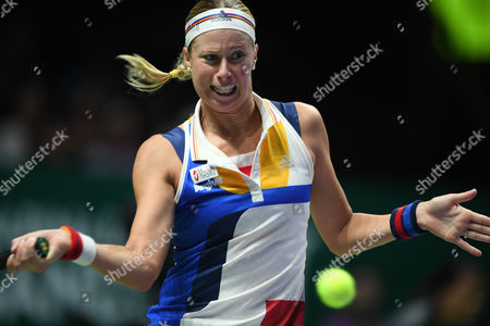 Andrea Hlavackova (CZE), OCT 28, 2017 - Tennis :BNP Paribas WTA Finals Singapore 2017 match between Yung-Jan Chan (TWN)/Martina Hingis (CHE) 0-2 Timea Babos (HUN)/Andrea Hlavackova (CZE) at Indoor Stadium in Singapore.