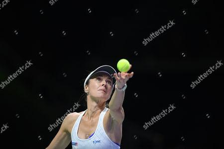 Martina Hingis (CHE), OCT 28, 2017 - Tennis :BNP Paribas WTA Finals Singapore 2017 match between Yung-Jan Chan (TWN)/Martina Hingis (CHE) 0-2 Timea Babos (HUN)/Andrea Hlavackova (CZE) at Indoor Stadium in Singapore.