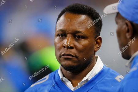Former Detroit Lions running back Barry Sanders is seen on the sidelines during the first half of an NFL football game against the Pittsburgh Steelers, in Detroit