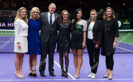 Melissa Pine, Micky Lawler, Steve Simon, Martina Hingis, Chan Yung-Jan, Iva Majoli, Mary Pierce during a retirement ceremony at the 2017 WTA Finals tennis tournament