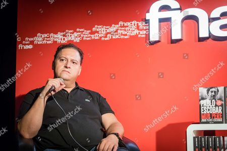 Juan Pablo Escobar speaks during a book signing event at FNAC Bellecour in Lyon