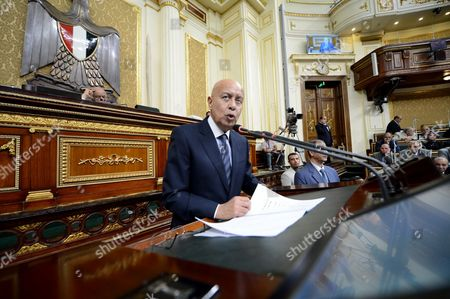 Egyptian Prime Minister Sherif Ismail delivers a speech to request imposing state of emergency, at the Egyptian Parliament