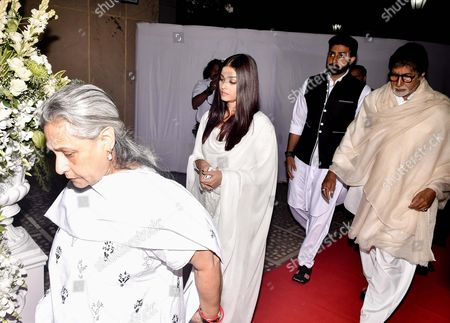 Bollywood actors Amitabh Bachchan, Jaya Bhaduri, Abhishek Bachchan and Aishwarya Rai Bachchan during the prayer meeting in loving memory of Ram Mukherjee