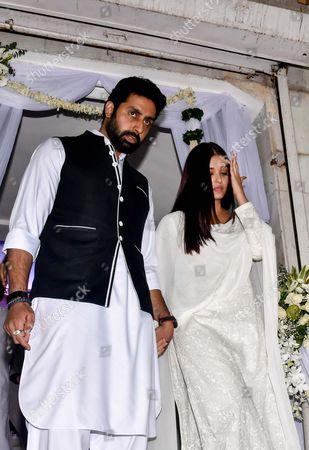 Bollywood actors Abhishek Bachchan and Aishwarya during the prayer meeting in loving memory of Ram Mukherjee