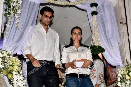 Bollywood actor Amisha Patel during the prayer meeting in loving memory of Ram Mukherjee