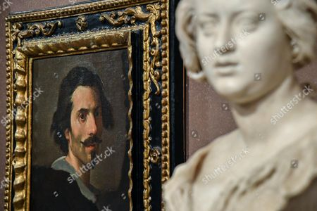 The painting entitled 'Self-portrait as a mature man' (L) and the sculpture entitled 'Bust of Costanza Piccolomini' by Gian Lorenzo Bernini are on display at the 'Bernini' exhibition at Galleria Borghese in Rome, Italy, 30 October 2017. The show opens to the public from 01 November 2017 to 04 February 2018.