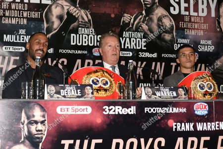 James DeGale (L), Frank Warren and Lee Selby during a Press Conference at the Landmark London Hotel on 30th October 2017