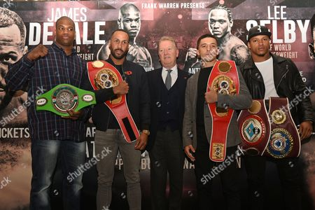 Daniel Dubois (L), James DeGale, Frank Warren, Lee Selby and Anthony Yarde during a Press Conference at the Landmark London Hotel on 30th October 2017