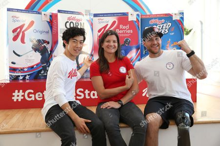 Nathan Chen, Kelly Clark, Mike Schultz. Team USA Hopefuls Nathan Chen, figure skating, from left, Kelly Clark, snowboarding, and Mike Schultz, Paralympic snowboarding, pose with limited-edition cereal boxes. Along with Meghan Duggan, ice hockey (not pictured), the athletes were introduced as Team Kellogg's, in New York