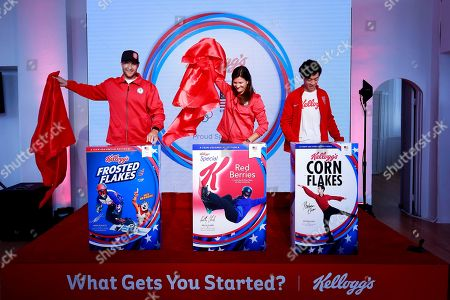 Mike Schultz, Kelly Clark, Nathan Chen. In celebration of the Olympic and Paralympic Winter Games 2018, Kellogg's unveiled limited-edition cereal boxes featuring Team USA hopefuls Mike Schultz, Paralympic snowboarding, from left, Kelly Clark, snowboarding, and Nathan Chen, figure skating. The athletes, along with Meghan Duggan, ice hockey (not pictured), were introduced as Team Kellogg's, in New York