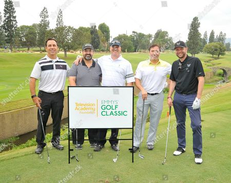 Joe Zicree, Kary Antholis, Ryan Quast, Paul Caswell, Benito Martinez. Benito Martinez, 2nd from right, Joe Zicree, Ryan Quast, Paul Caswell, and Kary Antholis attend the 18th Annual Emmys Golf Classic presented by the Television Academy Foundation at the Wilshire Country Club, in Los Angeles, Calif