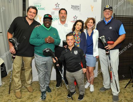 Adam Baldwin, Madeline Di Nonno, Jodi Delaney, Bill Nethercott, Jake Anderson, Edward Andrews. Adam Baldwin, right, and Staples' team #1 members Bill Nethercott, Jake Anderson, and Edward Andrews, winners of the 2nd Low Net Award, pose with Cedric the Entertainer second from left, Television Academy Foundation Chair Madeline Di Nonno, third from right, and Executive Director Jodi Delaney at the 18th Annual Emmys Golf Classic presented by the Television Academy Foundation at the Wilshire Country Club, in Los Angeles, Calif