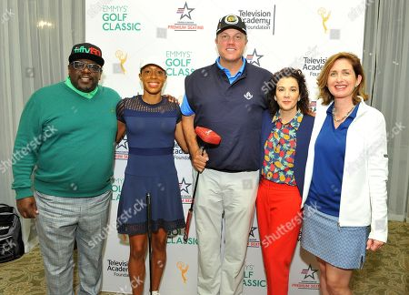 Stock Image of Andia Winslow, Adam Baldwin, Cedric the Entertainer, Madeline Di Nonno, Jodi Delaney. Longest Drive Hole #2 winners, Andia Winslow, second from left, and Adam Baldwin, center, pose with Cedric the Entertainer, left, and from second from right, Television Academy Foundation Chair Madeline Di Nonno, and Executive Director Jodi Delaney at the 18th Annual Emmys Golf Classic presented by the Television Academy Foundation at the Wilshire Country Club, in Los Angeles, Calif