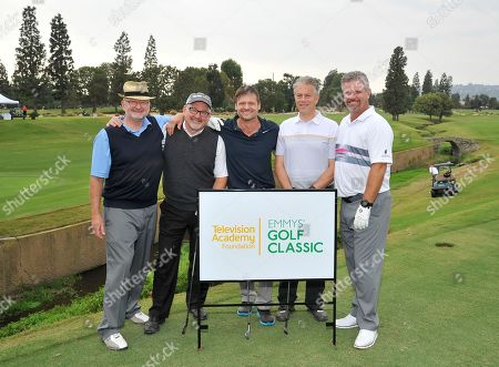 Bailey Chase, Doug Darrow, Mike Archer, Mark Christiansen, Jim Smith. Bailey Chase, center, and his team members Doug Darrow, Mike Archer, Mark Christiansen, and Jim Smith attend the 18th Annual Emmys Golf Classic presented by the Television Academy Foundation at the Wilshire Country Club, in Los Angeles, Calif