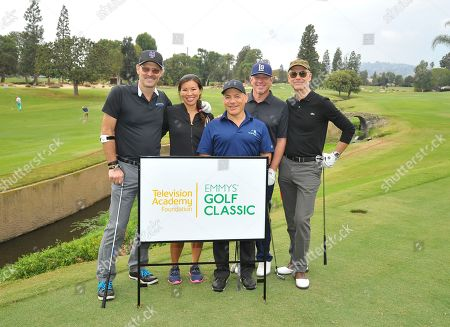 Jeff Nordling, Natasha Shum, Ray Landes, Gregg Glickman, Glenn Whitehead. Jeff Nordling, from left, and his team members Natasha Shum, Ray Landes, Gregg Glickman, and Glenn Whitehead attend the 18th Annual Emmys Golf Classic presented by the Television Academy Foundation at the Wilshire Country Club, in Los Angeles, Calif