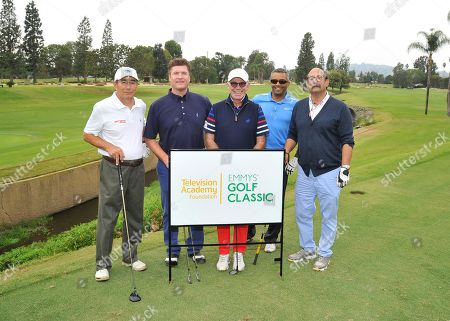 Pat Finn, Larry Stemerman, Marty Hackel, Andre D'Sousa, Dick O'Donnell. Pat Finn, second from left, and his team members Larry Stemerman, Marty Hackel, Andre D'Sousa, and Dick O'Donnell attend the 18th Annual Emmys Golf Classic presented by the Television Academy Foundation at the Wilshire Country Club, in Los Angeles, Calif