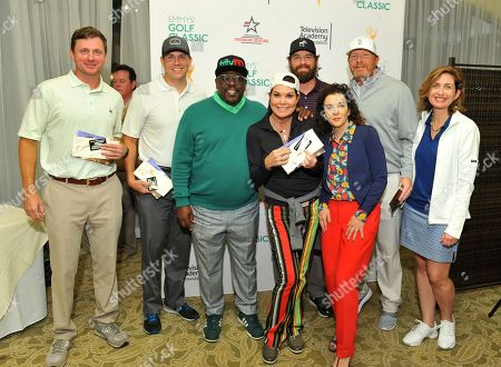 Paula Trickey, Jason Hodge, Chris Atkinson, Bill Jesel, Jay Sanders, Cedric the Entertainer, Madeline Di Nonno, Jodi Delaney. Jason Hodge, from background left, Chris Atkinson, Bill Jesel, and Jay Sanders had the winning online auction bid for a round of golf at the Emmys Golf Classic, presented by the Television Academy Foundation. Joined by celebrity team mate Paula Trickey, foreground center, they also won the tournament's grand prize and pose with Cedric the Entertainer, from foreground left, Television Academy Foundation Chair Madeline Di Nonno, and Executive Director Jodi Delaney at the Wilshire Country Club, in Los Angeles, Calif