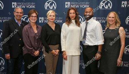 John Hadity, Bonnie Curtis, Bianca Goodloe, Alysia Reiner, Devin E. Haqq, Susan Sprung. John Hadity, from left, Bonnie Curtis, Bianca Goodloe, Alysia Reiner, Devin E. Haqq, and Susan Sprung seen at 2017 PGA Produced By: New York at 1 Time Warner Center, in New York