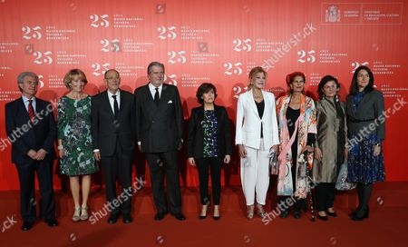 Spanish Deputy Prime Minister Soraya Saenz de Santamaria (C), Spanish Minister of Culture Inigo Mendez de Vigo (4-L), Vice president of Thyssen-Bornemisza Museum, Carmen Thyssen (4-R), former President of Madrid Esperanza Aguirre (2-L) and former Spanish Ministers of Culture Javier Solana (3-L), Carmen Alborch (3-R), Carmen Calvo (2-R), Angeles Gonzalez-Sinde (R) and Cesar Antonio Molina (L) pose during the celebration of the 25th anniversary of National Museum Thyssen-Bornemisza in Madrid, Spain, 30 October 2017.