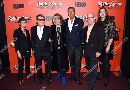 "Sara Berstein, Jann Wenner, Sheila Nevins, Richard Plepler, Alex Gibney, Blair Foster. HBO Documentary Films senior vice president Sara Berstein, left, Rolling Stone co-founder and publisher Jann Wenner, HBO Documentary Films president Sheila Nevins, HBO chairman and CEO Richard Plepler, director Alex Gibney and director Blair Foster attend the world premiere of ""Rolling Stone: Stories From The Edge"" at Florence Gould Hall, in New York"