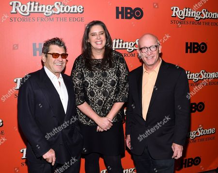 "Jann Wenner, Blair Foster, Alex Gibney. Rolling Stone co-founder and publisher Jann Wenner, left, director Blair Foster and director Alex Gibney attend the world premiere of ""Rolling Stone: Stories From The Edge"" at Florence Gould Hall, in New York"