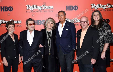 "Stock Picture of Sara Bernstein, Jann Wenner, Sheila Nevins, Richard Plepler, Alex Gibney, Blair Foster. HBO Documentary Films senior vice president Sara Bernstein, left, Rolling Stone co-founder and publisher Jann Wenner, HBO Documentary Films president Sheila Nevins, HBO chairman and CEO Richard Plepler, director Alex Gibney and director Blair Foster attend the premiere of ""Rolling Stone: Stories From The Edge"" at Florence Gould Hall, in New York"