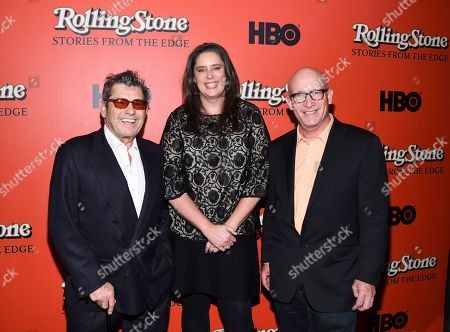 """Jann Wenner, Blair Foster, Alex Gibney. Rolling Stone co-founder and publisher Jann Wenner, left, director Blair Foster and director Alex Gibney attend the premiere of """"Rolling Stone: Stories From The Edge"""" at Florence Gould Hall, in New York"""