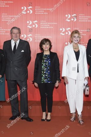 Minister of Culture, Inigo Mendez de Vigo; Minister of the Presidency, Soraya Saenz de Santamaria and Carmen Von Thyssen-Bornemisza, Baroness Thyssen